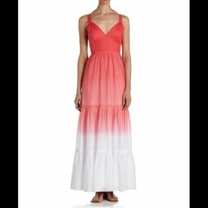 Tahari Coral Pink to White Ombre Maxi Dress